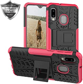 Sun Van Case and Screen Protector for Samsung Galaxy A10e, Kickstand Heavy Duty Dual Layer Rugged Armor Hybrid Protective Cover Tempered Glass for Samsung A20e (Hot Pink, Case and Screen Protector)