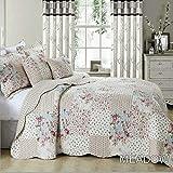 SWIFT Parure de lit matelassé 3 pièces avec couvre-lit Motif patchwork