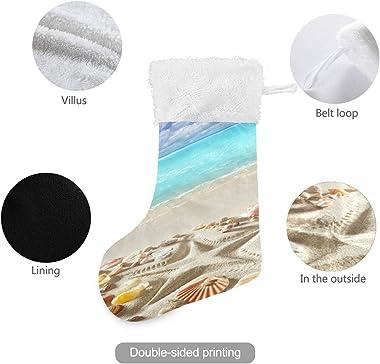 2 Pack Christmas Stockings Holder Pockets Beach Sand Starfish Tropical Sea Large Craft Socks Gift Treat Card Bags Xmas Stocki