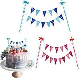 MIZOMOR 2 PCS Kuchengirlande Wimpelkette Cake Topper Wimpelkette Happy Birthday Girlande Wimpelkette Kuchen Dekoration Junge Geburtstag Dekoration für Mädchen Jungen Torten Kindergeburtstag Party
