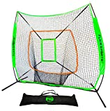 Flair Sports 7' X 7' Baseball & Softball Practice Hitting & Pitching Net with Bow Frame, Carry Bag and Bonus Strike Zone, Great for All Skill Levels