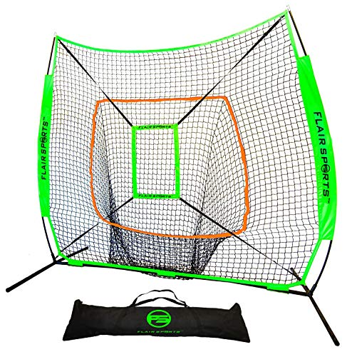 Flair Sports Baseball Net & Softball Net for Hitting & Pitching - Heavy Duty 7x7 Pro Series - Indoor & Outdoor Training Net - Bow Frame - Bonus Strike Zone Included