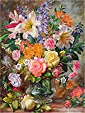 Kit de pintura al óleo guiada con números, para adultos principiantes, 40,4x50,8cm, flores frescas, dibujo con pinceles, perfecto como decoración o regalo de Navidad Marco.