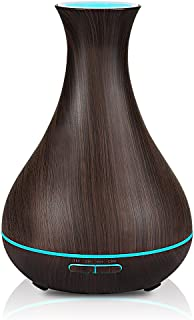 400ml Essential Oils Diffuser, New Design - Quieter, Longer Mist Output Time 6-12 Hours  7-Color LED Soft Light for Home, Office