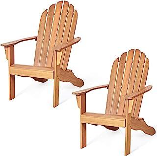 Giantex Adirondack Chair Outdoor Wooden W/Ergonomic Design Acacia Chair for Yard, Patio, Garden, Poolside and Balcony Adirondack Deck Lounge Chair Armchair (2, Natural)