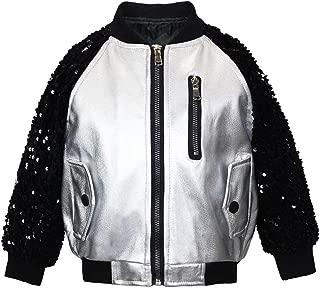 weLaken Metallic Jacket for Girls with Sequin Sleeve Bomber Jacket for Boys Leather Jacket Kids Motorcycle Jacket
