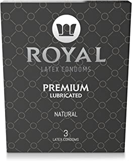Royal Thin Latex Condoms - Lubricated with Unflavored Edible Lubricant - Strong, FDA Approved Non-Toxic Latex - All Natural, Organic, Vegan, No Cruelty Contraceptive - Snug Fit & Size - 3 Pack