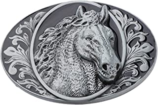 Lovoski Antique Alloy Belt Buckle Rodeo Horse Head Western Cowboy Oval Metal Belt Buckle for Mens Clothing Accessories Birthday Gift