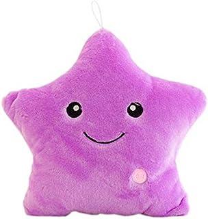 Rainbow Fox Nuevo Vistoso Brillante LED Luminoso Estrella Almohada Suave Cojines Felpa Juguetes Kid's Regalos Hada Cuento Decoración (púrpura)