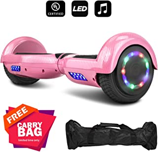 cho Carbon Fiber Design Hoverboard Electric Hoover Board Smart Self Balancing Scooter with Built-in Speaker- UL2272 Certified (Pink)