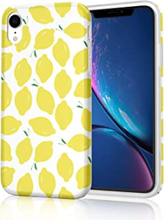 Light Weight Protective Phone Case for iPhone XR, Flexible Soft TPU Glossy Rubber Silicone Skin Cover for iPhone XR 2018 6.1 inch - Summer Lemons on White