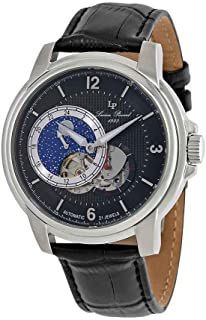 Men's 'Nebula' Stainless Steel and Leather Automatic Watch, Color:Black (Model: LP-15156-01)