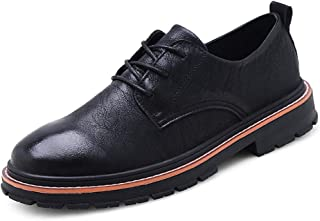 Yong Ding Men Oxfords Shoes Leather Upper Breathable Non Slip Brogues Shoes with Lace Up Closure for Both Formal and Casual Occasions