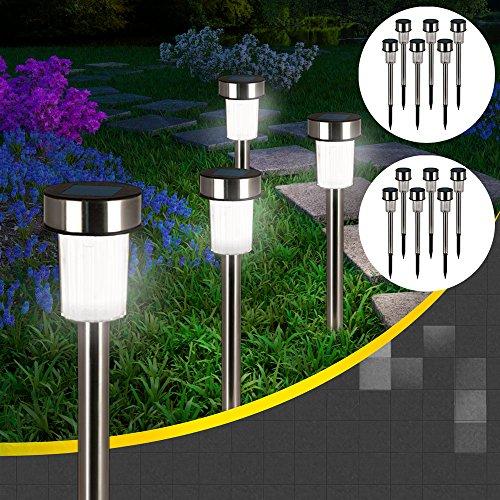 LED Solarleuchte Gartenleuchte Solarlampe aus Edelstahl 16er Set