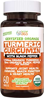 USDA Organic Turmeric Curcumin with Black Pepper Capsules by Feel Great 365, Supports Arthritis Pain Relief and Joint Discomfort*, Gluten-Free, Vegan, Halal Certified Organic Supplement