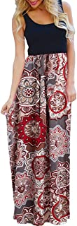 OURS Women`s Casual Contrast Sleeveless Maxi Dresses Summer Floral Print Long Maxi Dresses