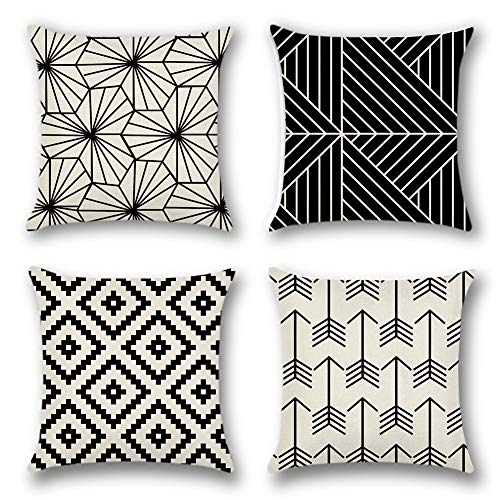 Artscope Throw Pillow Case Cushion Covers 45 x 45 cm Cotton Linen Square Decorative Pillow Covers for Sofa Car Bedroom Indoor Outdoor, Set of 4 (Geometric Pattern Black - B)