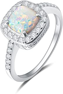 14K White Gold Plated 925 Sterling Silver Created White Fire Opal and Cubic Zirconia Halo..