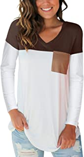 Women's Basic V Neck T Shirt with Suede Pocket S-XXL