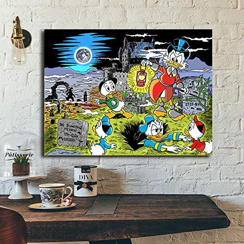 WJY Paläolithikum Cartoons Carl Barks Leinwand Bild Modulare Gemälde für Wohnzimmer Poster an der Wand Home Decoration 60cm x90cm Kein Rahmen