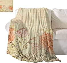 SONGDAYONE Polyester Blanket Vintage Suitable for Camping, Travel Double Exposure Background Roses and Lettering Love Words Once Upon A Time Theme W51 x L60 Cream Pink