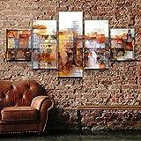 Cuadro en Lienzo Impresión de 5 Piezas Material Tejido no Tejido Casco Antiguo DE Praga Impresión Artística Imagen Gráfica Decoracion Listo para Colgar 150 * 80Cm con Marco