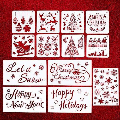 13 Pcs Christmas Stencils Template Sets -...