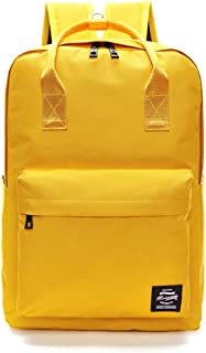 Kid Backpack Solid Color Backpack Top Handle School Bag Canvas Shoulders Bag Yellow Backpack Fashion Backpack For Teens and Girls Alike