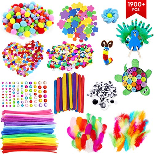 1900+ PCS Colorful Pipe Cleaners Craft Kit, Including Pipe Cleaner, Wiggle Googly Eyes, Pom Poms, Buttons, Feathers, Ice Cream Sticks, Sequins and More for Kids DIY Art Craft Supplies
