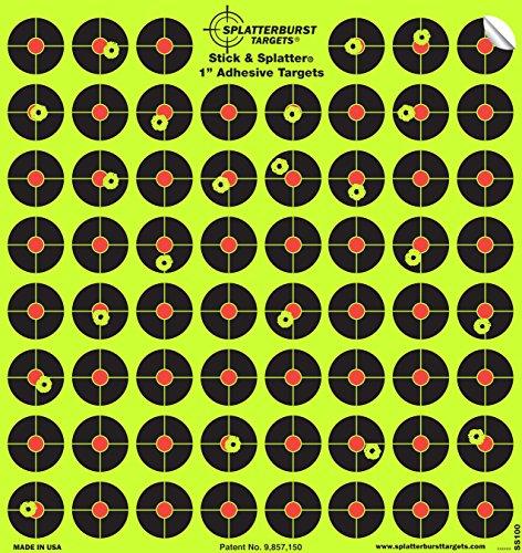 """Packung mit 10 - 2,54cm Selbstklebenden \""""Stick & Splatter\"""" Splatterburst Ziele - Schüsse platzen beim Aufprall leuchtend gelb - Perfekt alle Gewehre, Pistolen, Luftgewehre, Airsoft"""