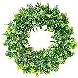 Palmhill 15'' Artificial Green Leaves Wreath Boxwood Wreath Eucalyptus Wreath for Front Door Eucalyptus Garland for Home Wall Wedding Decor Door Wreath