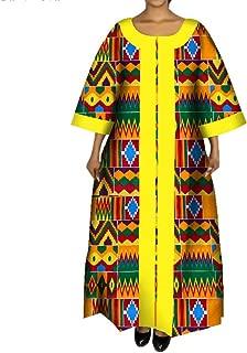 Womens Traditional African Print Maxi Dress 3/4 Bell Sleeve Dashiki Dress