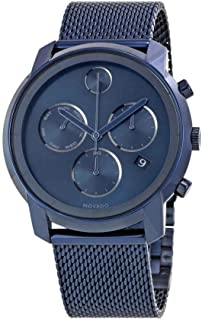 Movado Mens BOLD Thin Blue PVD Watch with a Flat Dot Sunray Dial, Blue (