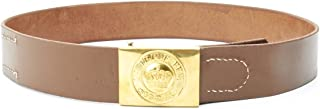 German WWI Brown Leather Belt with Bavarian 'In Treue Fest' Buckle- Size 36-40