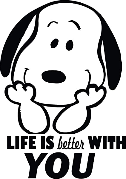 Snoopy Wall Decals For Kids Bedroom Snoop Dog Boys Room Decor Vinyl Art Stickers Decal Childrens Rooms The Peanuts Movie Cartoon Character Fun Look Life Better With You Size 20x20 Inch
