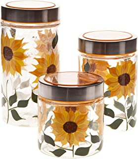 Walter Drake Sunflower Canisters, Set of 3 in Different Sizes, Clear Glass with Painted Design & Metal Lids