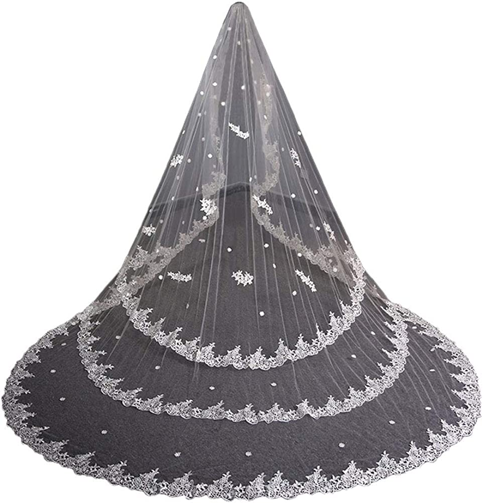 1 tier Full Lace wedding cathedral veils 3 4 5 meter veil for brides Metal Comb