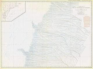 Vintography Professionally Reprinted 18 x 24 Image of 1938 Bathymetric Map United States - East Coast Coastal Slope East of Chesapeake Bay Entrance USA