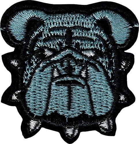 Grau Bulldog mit Spikes HALSBAND–Cut Out Embroidered Iron on oder Sew auf Patch