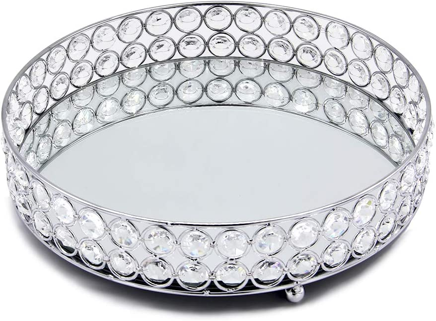 VINCIGANT Daily bargain sale Mirrored Crystal Vanity Decorative Seasonal Wrap Introduction - Serving Tray