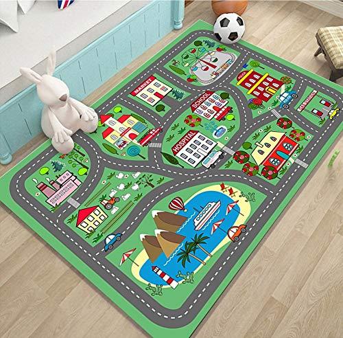 KLLKR Alfombra para niños Tapete Educativo para niños, Sistema de tráfico por Carretera, Ideal para Jugar con Autos para Dormitorio, Sala de Juegos, Respaldo Antideslizante(Color:A,Size:80 * 120cm)