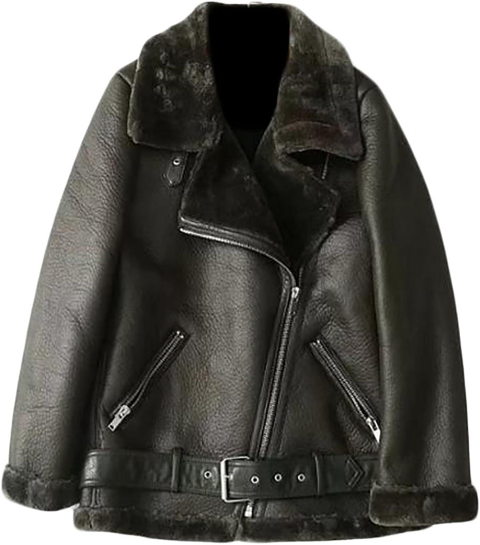 Pandapang Women's Casual Fleece Lined Leather Lapel Moto Parka Jackets