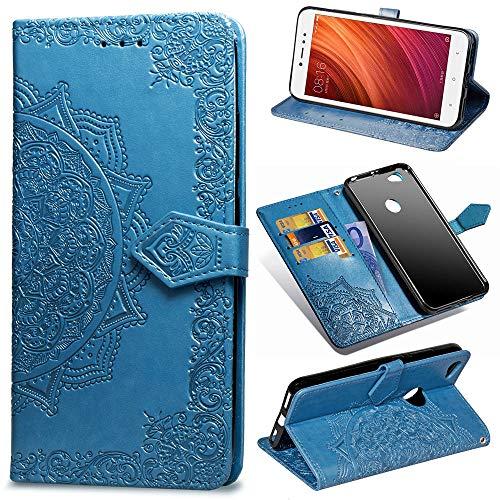 Funda para Xiaomi Redmi Note 5A Prime, Carcasa Libro con Tapa Flip Case Antigolpes Golpes Cartera PU Cuero Suave Soporte con Correa Cordel - Mandala Azul