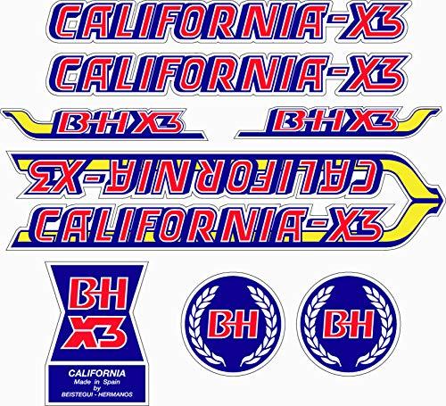 Kit de adhesivos motos clasicas BH California X3 - Juego Pegatinas Completo - Vinilo para Moto,...