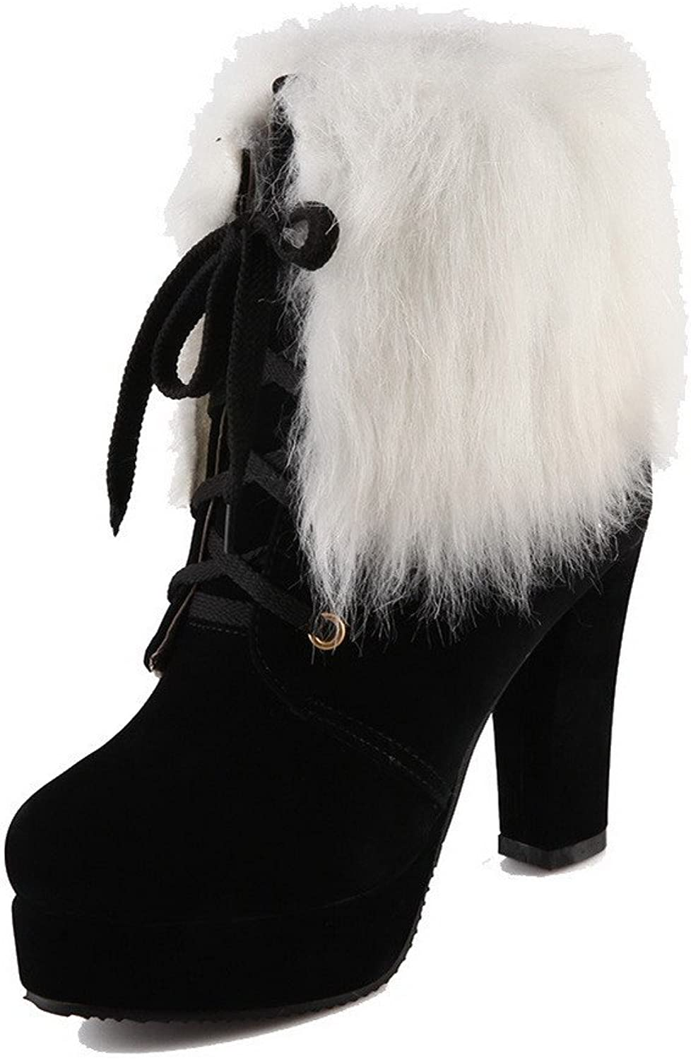 AllhqFashion Women's Round Closed Toe High-Heels Frosted Low-top Solid Boots with Knot