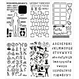Health and Fitness Journal Stencil Set - Custom-Designed Supplies for Bullet Dot Journal Workout Planners with DIY Templates to Track Habits, Exercise, Weight and Meal Planning by Sunny Streak