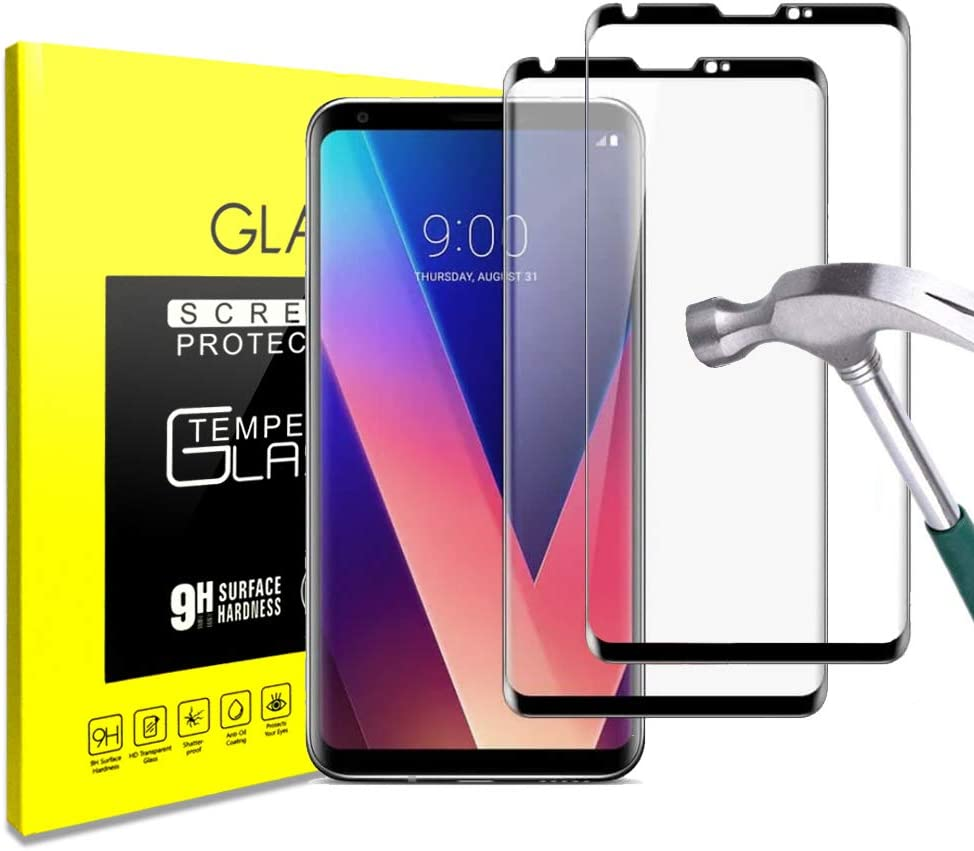 For LG V30 Glass Screen Protector Premium [3D Curved] [Bubble Free] [9H Hardness] [Anti-Fingerprint] Clear Full Screen Coverage Tempered Glass Screen Protector for LG V30 [2-Pack]