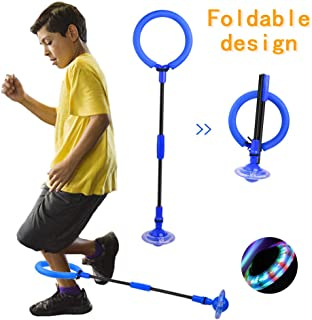 QMOEH Skip It Ball, Foldable Skip It Ankle Skipit Toy with Backpack, Colorful Flash Skip It Toy for Fitness