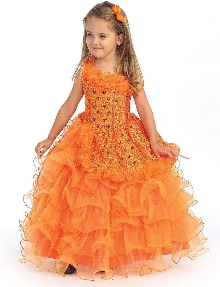 Angels Garment Orange Sequin Organza Ruffle Pageant Dress Girls 4T