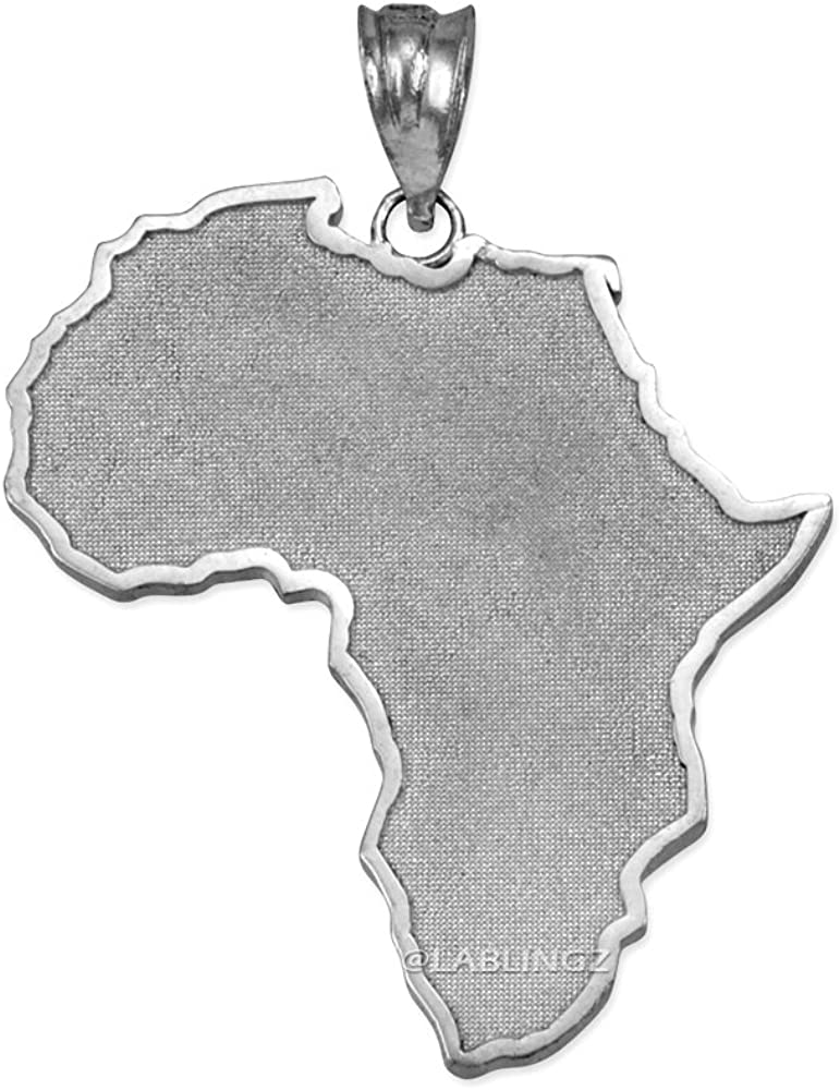 Travel & Destinations Jewelry 10K White Gold Africa Map Pendant